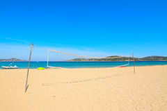 Beach volley net in Porto Pollo beach Royalty Free Stock Photo