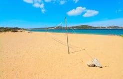Beach volley net in Porto Pollo shore Royalty Free Stock Photography