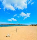 Beach volley net in Porto Pollo shore Stock Images