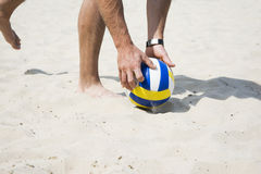 Beach volley net on a sandy beach Royalty Free Stock Images