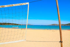 Beach volley net by the sea in Porto Pollo Royalty Free Stock Photo