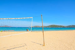 Beach volley net and surfboards in Porto Pollo Stock Photography