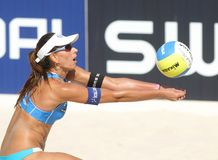 Beach Volley player Ana Paula Connelly. Brasilian beach Volley player Ana Paula Connelly in action during a match of the Swatch FIVB Beach Volley World Tour'09 Stock Image