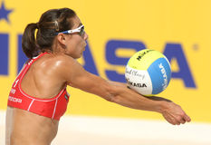 Beach Volley player Angie Akers. North American beach Volley player Angie Akers in action during a match of the Swatch FIVB Beach Volley World Tour 09 at Royalty Free Stock Photos