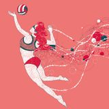 Beach volley player with a graphics trail royalty free illustration