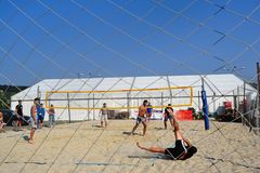 Missed shot at beach volley. Beach volley player missed a shot during a competition royalty free stock image