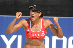 Beach Volley player Tyra Turner. North American beach Volley player Tyra Turner celebrates a point during a match of the Swatch FIVB Beach Volley World Tour 09 Royalty Free Stock Images