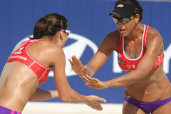 Beach Volley players Akers & Turner. North Americans beach Volley players Akers & Turner celebrates a point in Swatch FIVB Beach Volley World Tour 09 at monjuich Royalty Free Stock Photos