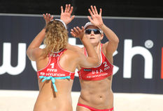 Beach Volley players April Ross & Jennifer Kessy. North American beach Volley players April Ross & Jennifer Kessy celebrating a point during a match of the Royalty Free Stock Photography