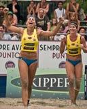 Beach volley Team winner stock photo