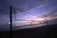 Beach Volleyball. Net at sunrise Stock Image