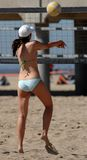 Beach Volleyball. Girl Playing Beach Volleyball on California Coast Stock Images