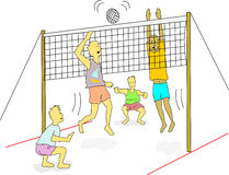 Beach volleyball. Young men wearing light weight clothes play beach volleyball outdoors Royalty Free Stock Photos