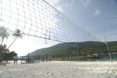 Beach Volleyball. Court and net by the beach of a remote island in Malaysia Stock Images