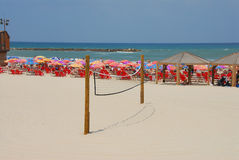 Beach Volleyball. Volleyball net on the beach in Tel Aviv Israel Royalty Free Stock Image