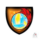 Beach volleyball ball with fire trail in center of shield. Vector sport logo for any team and championship isolated on white vector illustration
