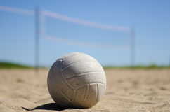 Beach volleyball with blue sky and net royalty free stock images