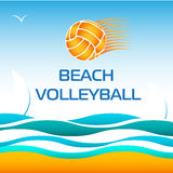 Beach Volleyball Bright Vector Design Element Stock Images
