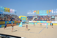 Beach Volleyball Championship Stock Photo