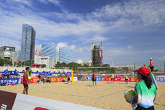 Beach volleyball court of guanyinshan beach Royalty Free Stock Image