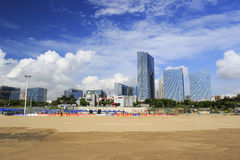 Beach volleyball court of guanyinshan business center Royalty Free Stock Photo