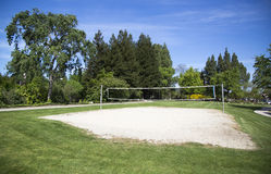 Beach volleyball court located in public park Royalty Free Stock Photos
