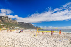 Beach volleyball courts in Camps Bay - Cape Town, South Africa Stock Photo