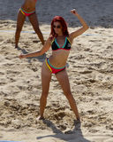 Beach volleyball dancer Royalty Free Stock Images