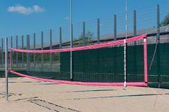 Beach volleyball field in detail view royalty free stock photo