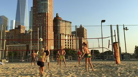 Beach Volleyball Game New York City stock video footage