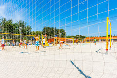 Beach volleyball games in Moscow Gorky park Royalty Free Stock Photos