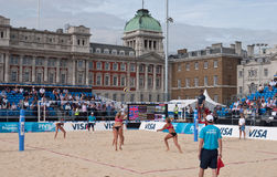 Beach Volleyball at Horse Guards Parade. View of the iconic venue and match between Great Britain and the USA. From left to right, Heather Lowe, Tealle Hunkus Stock Images