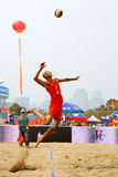 Beach volleyball jump serve Stock Images