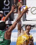 Beach volleyball latvia brazil net Stock Photo