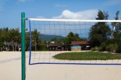Beach volleyball net Stock Photo
