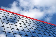A beach volleyball net on the background of blue sky with clouds. stock photos
