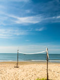 Beach volleyball net on the beach. Royalty Free Stock Image