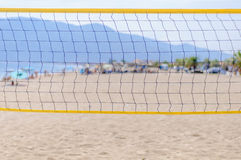 Beach volleyball net on the beach close Royalty Free Stock Images