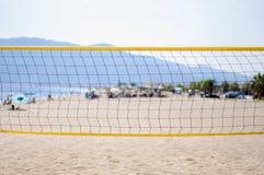 Beach volleyball net on the beach close Stock Photo