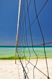 Beach volleyball net on Boracay - Philippines Stock Photos