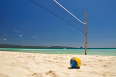 Beach volleyball net on Boracay - Philippines Royalty Free Stock Photos