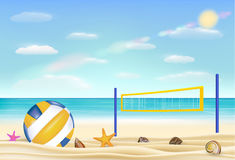 Beach volleyball and net on a sand beach with bring sea sky background Royalty Free Stock Image