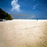 Beach Volleyball net on sandy beach Royalty Free Stock Photography