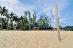Beach volleyball net on a sunny day Stock Image