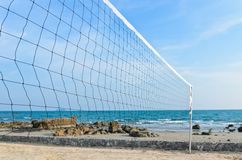 Beach volleyball net. Royalty Free Stock Photos