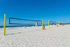 Beach volleyball nets. With ocean on the background Royalty Free Stock Photography
