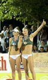 Beach volleyball-The Nystrom sisters Stock Photos