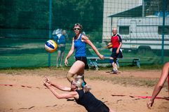 Beach volleyball play girls Stock Image