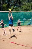 Beach volleyball play girls Stock Photos