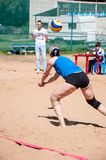Beach volleyball play girls Royalty Free Stock Photography